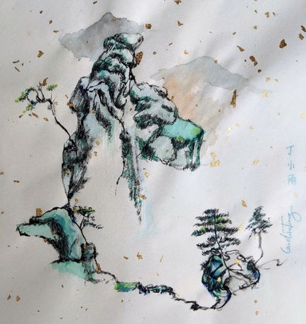 Pintura Aguarela de Montanha Azul/Verde Chinesa por Caroline Ting