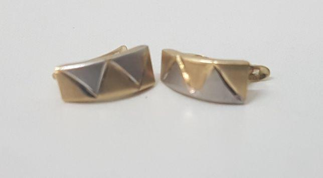 Złote kolczyki + białe złoto Próba 585 Waga 1.09g