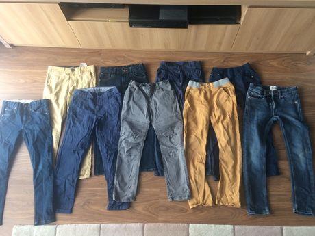 Zestaw spodni jeans, materialowe rozm. ok 125-134. Stan bdb!