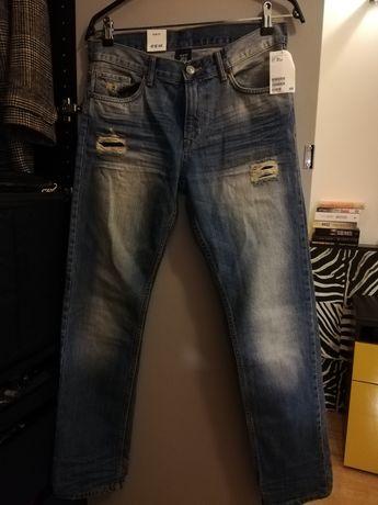 Dżinsy h&m, spodnie chłopięce niebieskie, slim fit, rozm. 164