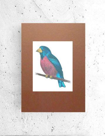 mały plakat z ptakiem, ptaszek plakat a4, fajna grafika do przedpokoju