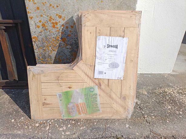 4 Prateleiras de canto SPACEA 75X37.5 cm em madeira pinho maciço NOVAS
