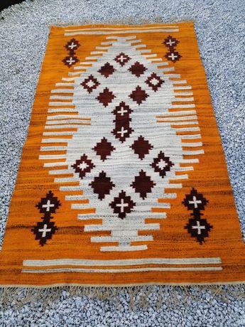 Piękny duży Kilim gobelin ręcznie tkany dywan Cepelia PRL unikat