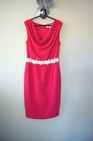 jtrozowa malinowa czerwona prosta dluga midi elegancka sukienka 38M 40