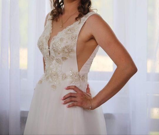 Suknia ślubna 38 Dajana gold, bogato zdobiona .