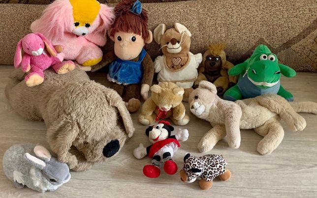 Мягкие игрушки собачка и утенок и другие