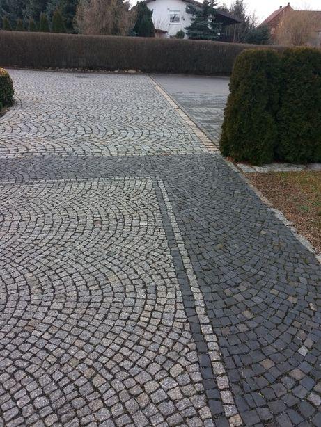 kostka brukowa bazaltowa mozaika 4x6 czarna wyslizgana z rozbiórki
