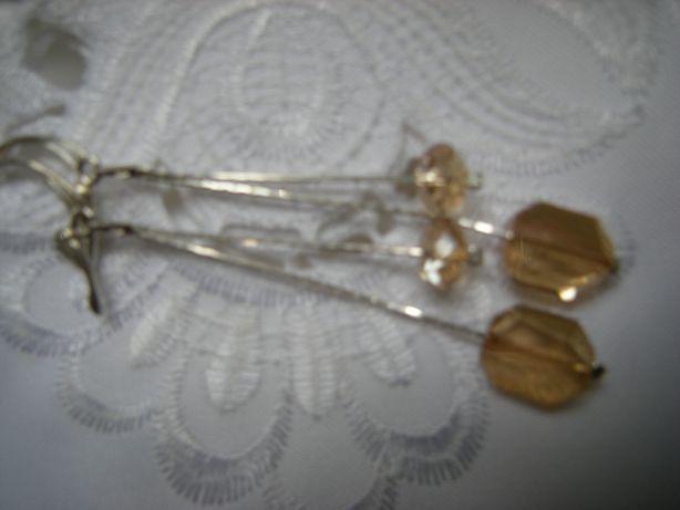 długie kolczyki 7,7cm podwójna żmijka złote kryształki Swarovski