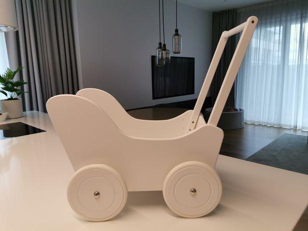 Biały drewniany Wózek dla lalek