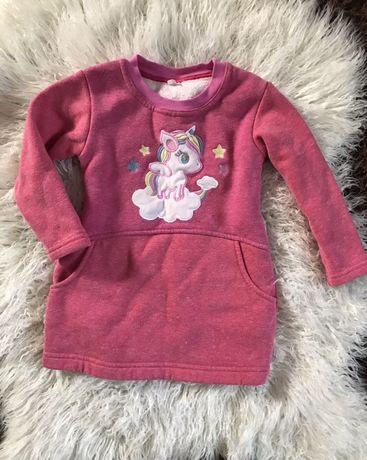 Платье детское теплое единорог рюши