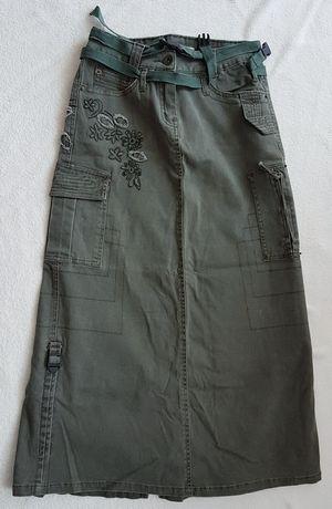 Długa jeansowa spódnica sportowa vintage  S 36  haftowana