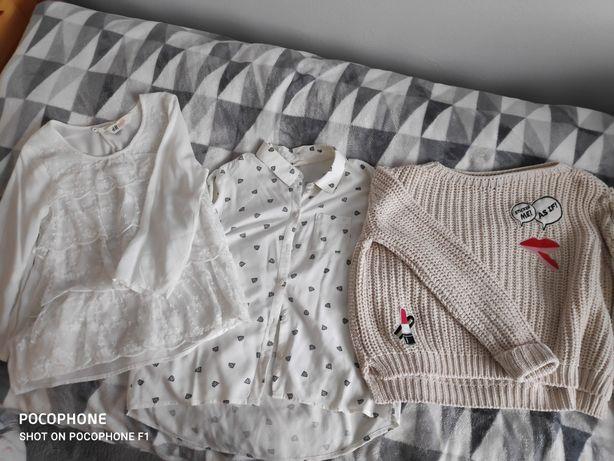 Zestaw koszula, elegancka bluzka i sweter