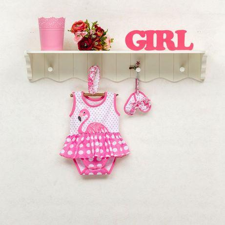Комплект бодик набор платье топики повязка девочк 6-9 месяцев Фламинго