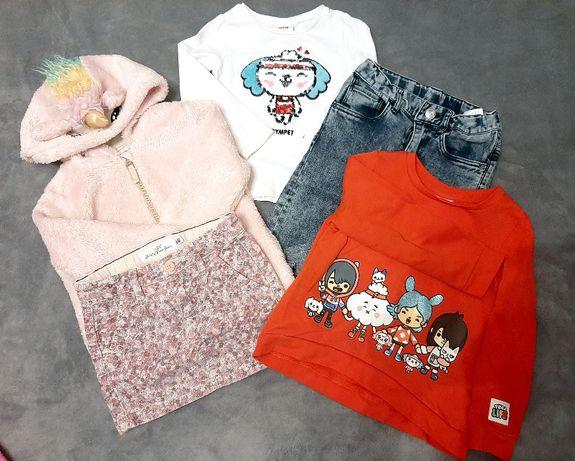 MEGA Zestaw H&M 110 bluza, spodnie, spódniczka, bluzka