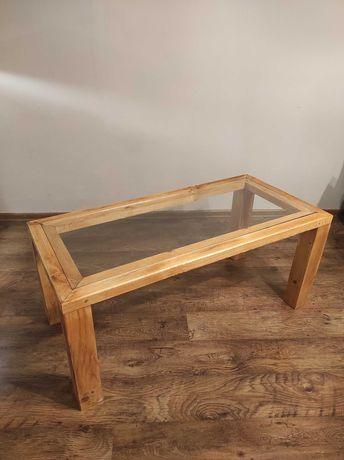 Ława drewniana ze szklanym blatem, ręcznie wykonana