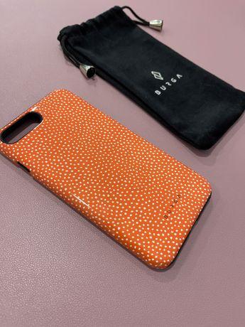 Capa iPhone 7 Plus da Burga cor-de-laranja e bolinhas