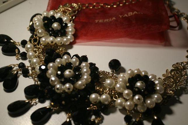 Колье в стиле шанель белый жемчуг и черные гематит бусины teriyа yabar