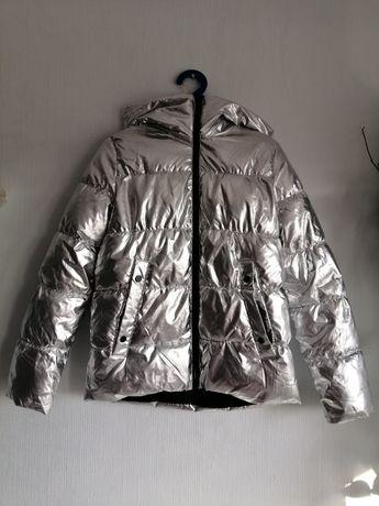Kurtka Metaliczna srebrna Reserved puchowa kaptur zimowa ciepła