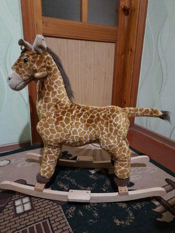 Качалка игрушка жираф лошадка со звуками шевелит ушами хвостом