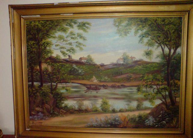 Quadro óleo paisagem antigo