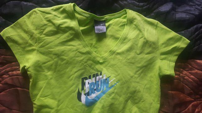 Nowa koszulka T-shirt oryginalny NIKE Run Bawełniany Limonka 34/36 S