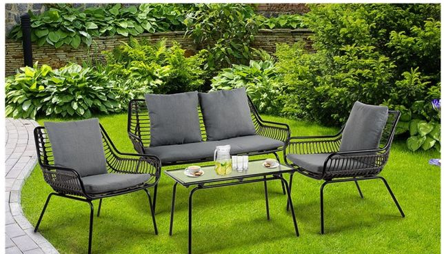 Zestaw ogrodowy sofa, 2 fotele, stolik