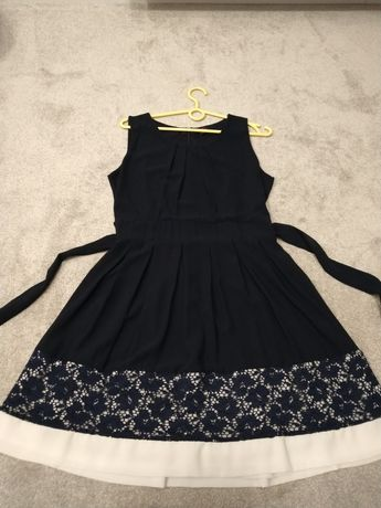 Granatowa elegancka sukienka wizytowa koronka galowa 38 służbowa pracy