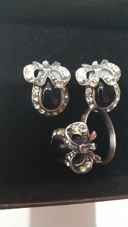 komplet srebrny kolczyki, pierścionek