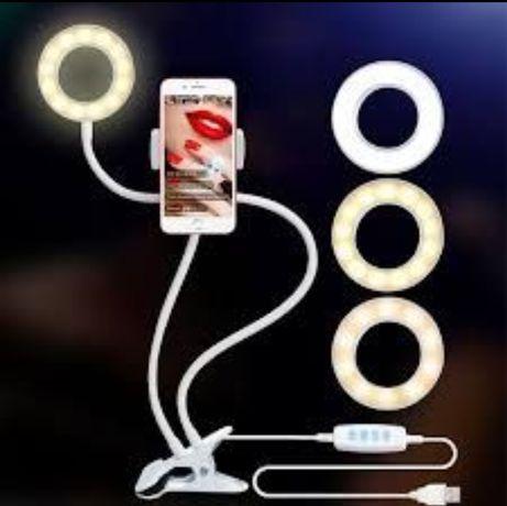 Лампа кольцевая с лед led подсветкой набор блогера штатив монопод