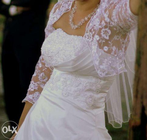 Sprzedam . Suknia Ślubna Ecru rozmiar 36 + GRATIS