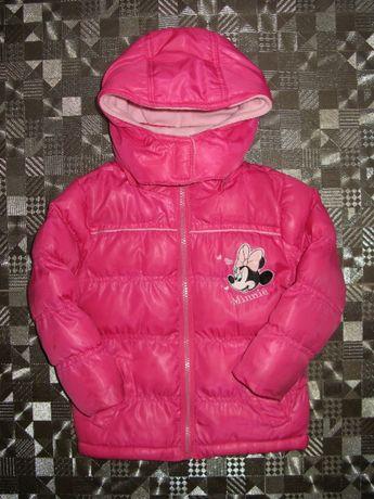Очень классная стеганная розовая куртка minni mouse disney 2-3 года
