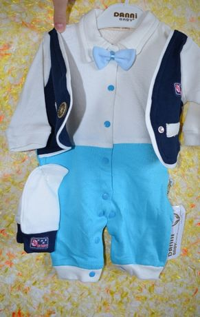 Человечек для мальчика нарядный на 0-3 месяца Турция НОВЫЙ
