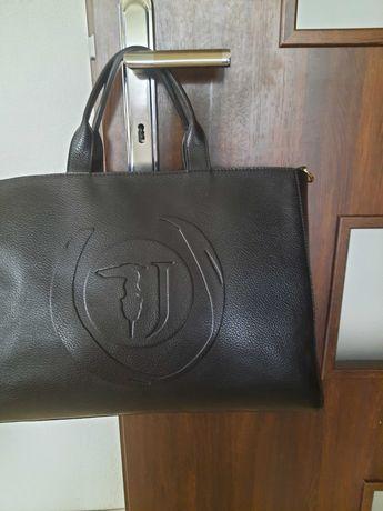 Torebka torba teczka Trudsardi Jeans czarna skóra  ekologiczna