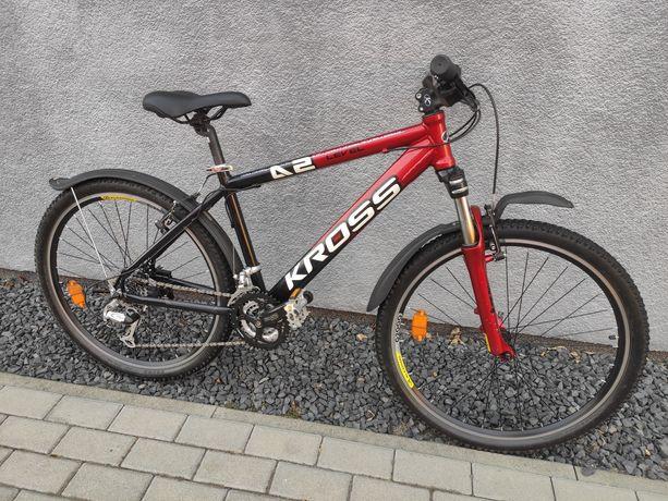 """Rower Kross Level A2 26"""" 43cm Shimano Alivio czarno czerwony"""