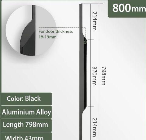 Uchwyt do mebli 800 mm aluminium czarny