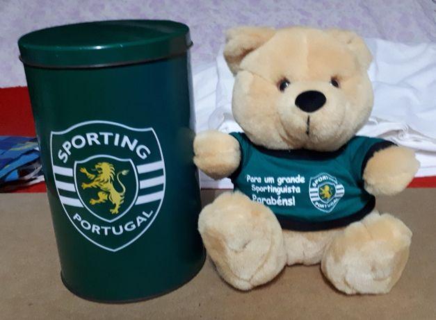 Urso de peluche do Sporting com lata -original