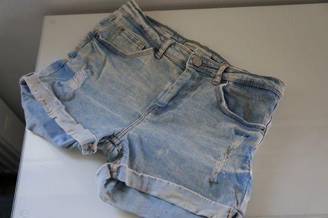 bershka spodenki szorty dżinsowe jeansowe zawijane 36
