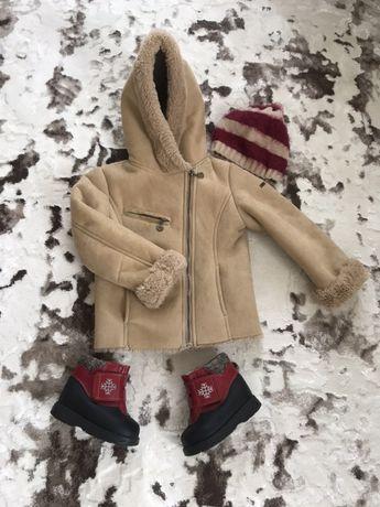 Дубленка куртка пальто  пилот Италия 98 см. 2-4 года. zara, h&m, next