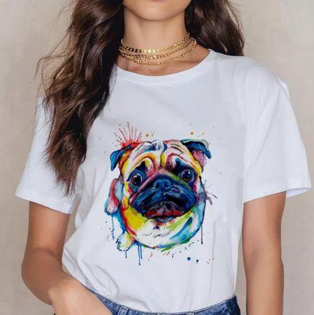 Koszulka bluzka t-shirt mops pug pies s-3XL