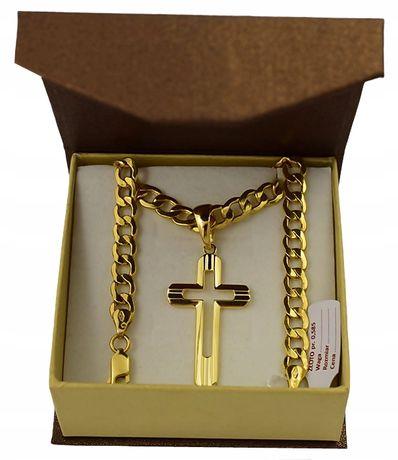 Złoty Łańcuszek z KRZYŻYKIEM pr. 585 / + GRAWER