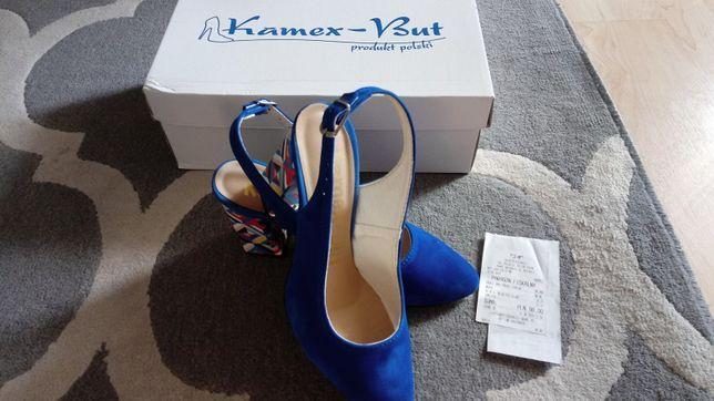 Kamex But niebieskie zamszowe buty kolorowy słupek 37, j.nowe
