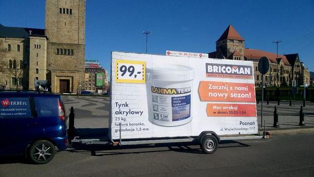 Mobilne przyczepy reklamowe Reklama mobilna Poznań Lawety BACKLIGHT