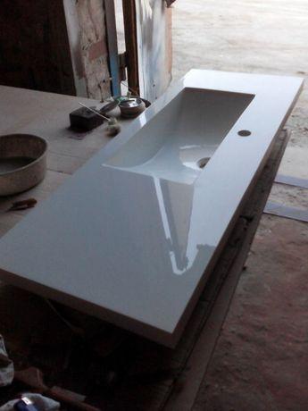 Столешница в ванную. Умывальник, Раковина, Искусственный камень