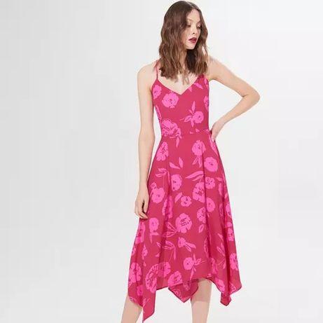 Sukienka MOHITO w kwiaty midi asymetryczna rozmiar 36, na ramiączka