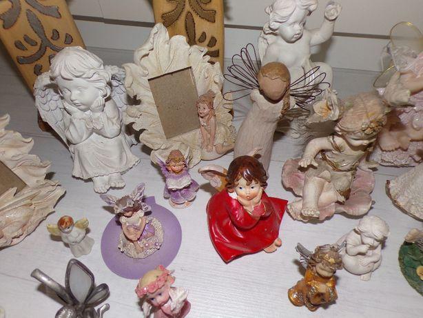 Aniołki drewniane, porcelanowe całość 25sztuk