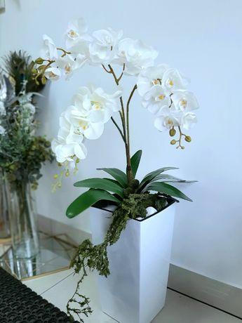 Sztuczny storczyk 4 pędowy biała doniczka jak żywy wysokiej jakości