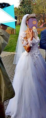Piękna suknia ślubna 34/36 gratis koło+welon