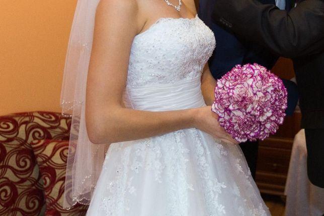 Suknia ślubna, biała prinressa