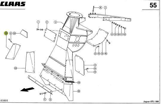 Prawa blacha ścieralna wieży Claas Jaguar. 722174 . HARDOX MTI13 Łomża - image 1