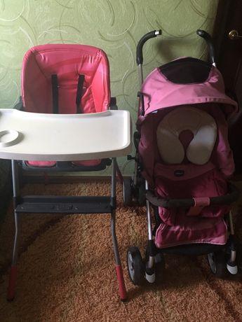 Chicco столик для годування та тростинка коляска